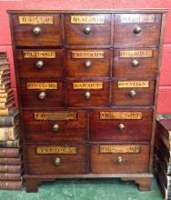 Medical - a '19th century' mahogany chemist's shop apothecary cabinet, reed