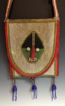 Tribal Art - an African beadwork divination bag, the front centred by a sty