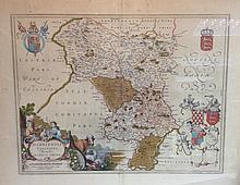 Joan Blaeu (1596-1673), after, a two-page map, Darbiensis Comitatus, Vernac