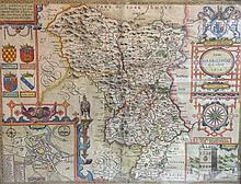 John Speed (1552-1629), by, a two-page map, Darbieshire (sic), 'to be fold