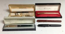 Pens - a Sheaffer fountain pen, 14k gold nib, vertically chased barrel, sta