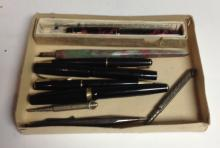 Pens - an Earle's Cement fountain pen, 14ct gold nib, mottled red and black