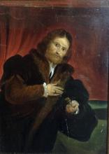 English School (18th/19th century) Henry Irving as Shylock oil on oak panel