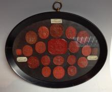 A collection of 18th and 19th century wax seals, various shapes and matrix,