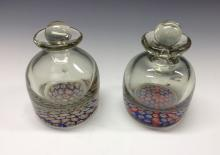 A near pair of 19th century millefiori ink bottles, the bases set with colo
