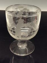 A 19th century glass rummer, wheel engraved with a hunting scene, spreading