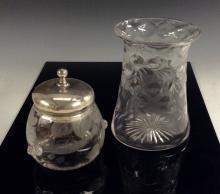 An Edwardian Webb's intaglio engraved glass preserve pot, decorated with br