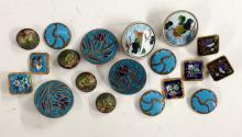 Buttons - a set of four enamel blue and metal buttons, c.1910;  a set of fo
