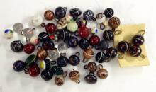 Buttons - a set of five Victorian glass ball buttons, decorated with a band