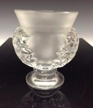 A Lalique St Cloud frosted pedestal vase, the sides moulded with acanthus l