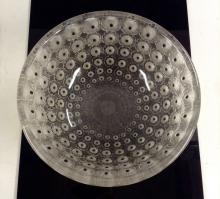 A Lalique Nemours circular glass bowl, frosted clear glass moulded in relie