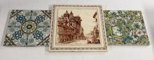 Tile - a Mintons China Works dust pressed square tile, printed in brown wit