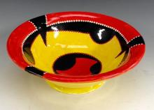 An unusual Royal Doulton Art Deco bowl, the interior glazed with geometric