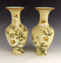 A pair of Doulton Lambeth Slaters Patent baluster vases, flared everted nec