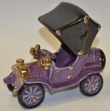 A Bretby novelty model of an early 20th century  motor car, purple colour g