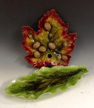 A Bretby leaf-shaped wavy-edge plate, naturalistically moulded and glazed i