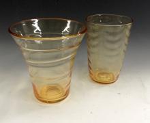 A Whitefriars gold amber wave-ribbed tumbler vase, pattern number 8473, 20c