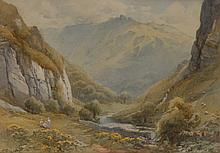 Harold Gresley (1892 - 1967) Dovedale with Figures and Sheep signed, waterc