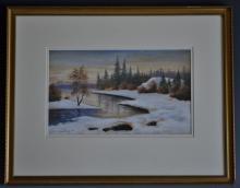 """Theresia Lisen Sandstr""""m (1893-1981)  Winter light over the Torne signed, d"""