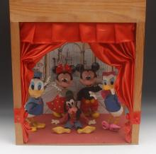 Walt Disney - a  theatre type animated display unit with five Pelham puppet