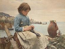 Walter Langley (1852-1922)Knitting,1890,