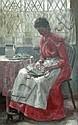 Thomas Cooper Gotch (1854-1931) Shelling Peas, oil