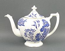 A Coalport porcelain part dinner and tea service decorated in 'Willow' pattern, comprising; soup tureen base, lidded circular tureen, pair of oval tureens and covers, three graduated meat platters, circular platter, pair of sauce boats on stands, tea