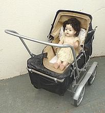 An Allwin Tot Folder dolls pram, model A23, circa 1940's wit