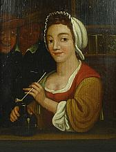 A Dutch tavern scene with lady smoking a pipe, 19th century,