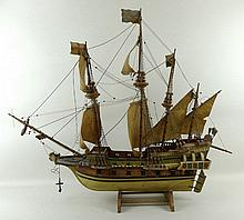 A scratch built four mast galleon, built by Dr David Jamilton, ships doctor circa 1910.