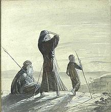 Dudley D Watkins (1907-1969): figures in a biblical landscap
