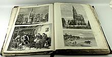 A Victorian folio of 19th century prints depicting various scenes and portraits, approximately 280 in total.
