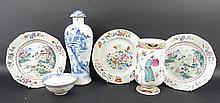 A 19th century Chinese blue and white baluster vase and cover, 31cm, three 18th century Chinese Export porcelain plates, 23cm, one decorated with a vase and flowers, and two decorated with a river landscape with pavilions, within a spearhead border,