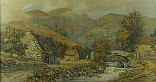 K. Morris (British, 19th century): rural landscape with houses and a fast flowing river below mountains and a castle ruin, watercolour, signed lower right, dated 1874, 37.5 by 69.5cm.