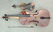 A mid 20th century cello, and a violin with bow.