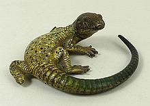 An Austrian cold painted bronze figure of a lizard, possibly Bergman, unsigned, 6cm long.