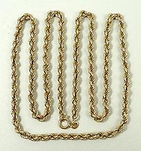 A 9ct gold rope twist neck chain on a bolt ring clasp, 9.0g.