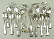 A quantity of George III and later flatware, comprising; a set of six Old English pattern tea spoons, monogram engraved, Samuel Godbehere, Edward Wigan and James Boult, London 1813, three bright cut edge Old English tea spoons, Joseph Barnard, London