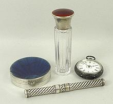 An S Mordan & Co spiral fluted plated propelling pen and pencil, cut glass fluted scent bottle with a silver and red guilloche enamel lid, Birmingham 1915, lady's silver key wind, open faced pocket watch, enamel dial bearing Roman numerals, Swiss
