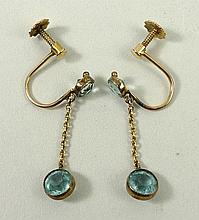 A pair of 9ct gold and aquamarine drop earrings, with screw