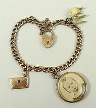 A 9ct gold charm bracelet, with heart locket clasp and safet