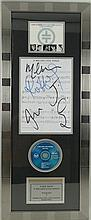 Autographs: a framed Take That Song Sheet and CD of 'A Million Love Songs' personally signed by Robbie Williams, Gary Barlow, Mark Owen, Howard Donald and Jason Orange.