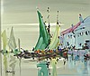 George R Deakins (1911-1982): Continental harbour scene, oil on board, signed lower right, 31.5 by 3
