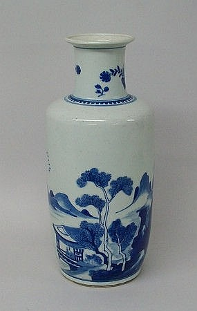 A Kangxi porcelain blue and white vase, of
