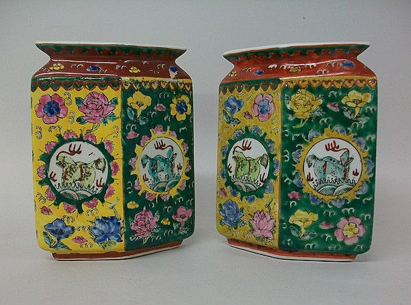A pair of Chinese porcelain vases of lozenge form,