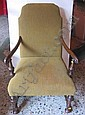 A 1950s open armchair in the Georgian style, green upholstered.