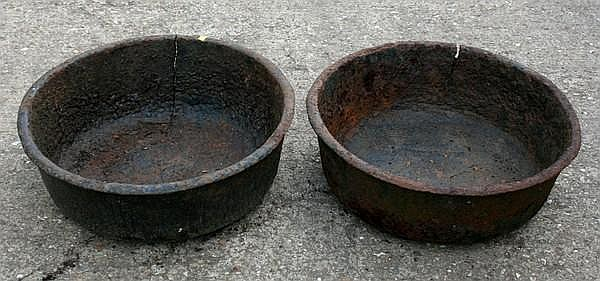 A pair of 19th century cast iron planters, each