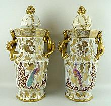 A pair of Masons ironstone twin handled vases and