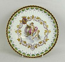 A Veuve Perrin pottery fluted plate, 19th century,