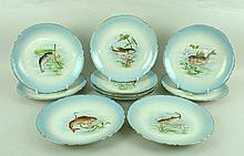 A set of ten J Pouyat, Limoges, porcelain plates,